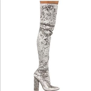 Gray velvet thigh high boots